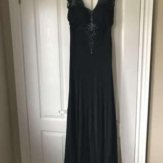 Black embellished maxi dress with train