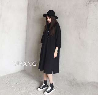 襯衫黑洋裝