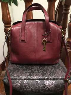 Fossil Emma Satchel in Wine