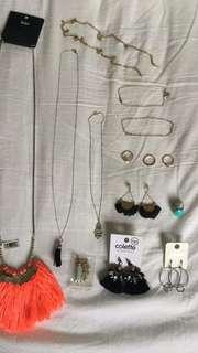 Jewellery bundle necklace earrings anklet silver