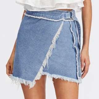 Denim wrap skirt