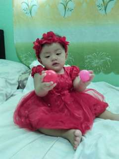 Red dress w/headband for 1yr old
