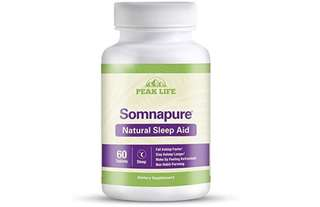 [IN-STOCK] Peak Life Somnapure Natural Sleep Aid with Melatonin, Valerian, and Chamomile, Non-Habit-Forming Sleeping Pill - Fall Asleep and Stay Asleep - 60 Count