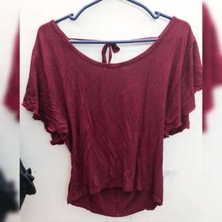 Maroon Batwing Blouse