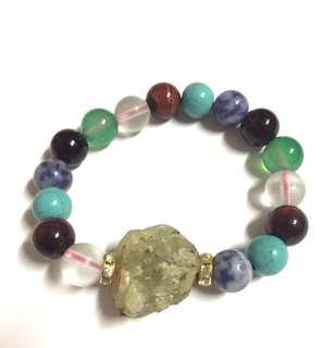 Prehnite Raw stone with mixed stones bracelet