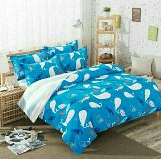 Blue whale premium Bedsheet set