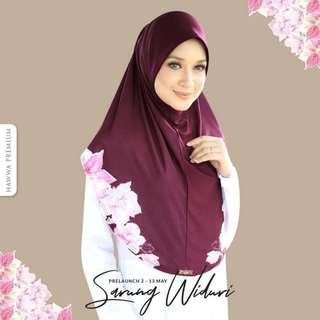 HAWWA PREMIUM TUDUNG LABUH/ HIJAB WIDURI IN MAROON MEDINA [SIZE XL] for Eid