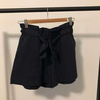 Navy Blue Paperbag Shorts