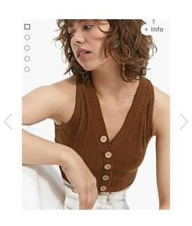 V-neck crop top with button