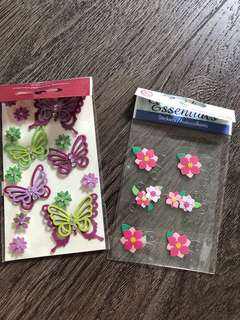 Paper butterflies and flowers