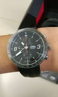 ORIS TT1 Automatic Chronograph Black  674-7659-4174RS, 已過保, 行走良好。 FULL SET , HK goods, 45mm size, 90% new 正常佩帶花痕, 不適合要好新或完美主義人士。 定價$26000, 扺玩用家價$9380 私下pm, 齋問最平或無聊勿擾。(seiko rolex omega ball citizen)