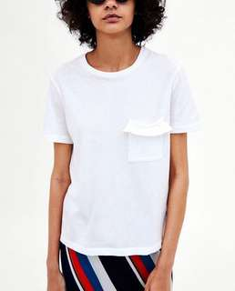 (More cols) Topshopp Inspired frills Detail cotton tee
