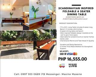 6-Seater Dining Foldable Table & Bench