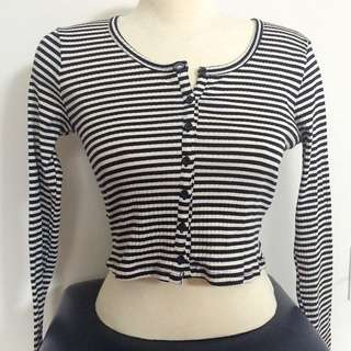 H&M Striped Buttoned Crop Top