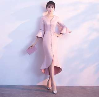 New Pink Elegant long sleeve Evening Dress