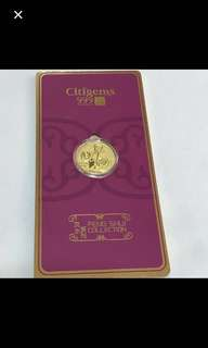 24K/999 Yellow Gold {Collectibles Item - Pure Gold} 金是永恆999(24K) 0.1g Pure Gold 純金时代 Citigems 福 FENG SHUI COLLECTION 风水系列