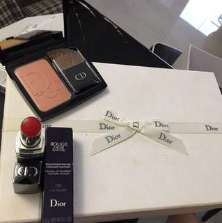 NEW Dior Box Set: Rouge Dior Baume 758 Lys Rouge + Diorblush 563 Shocking Coral