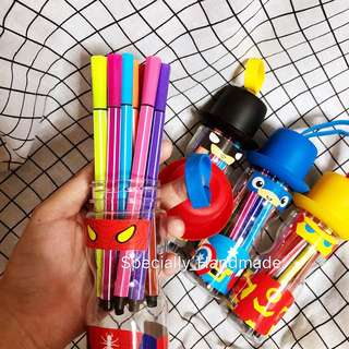 SUPERHERO WATER COLOUR MARKER PENS with hero bottles
