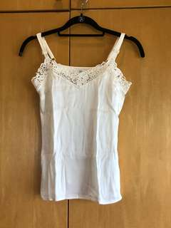 H&M silk camisole top with lace trimming