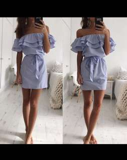 Off Shoulder Strapless Striped Ruffles Dress Women 2018 Summer Sundresses Beach Casual Shirt Short Mini Party Dresses Robe Femme