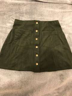 Forever 21 Green Faux Suede Mini Skirt