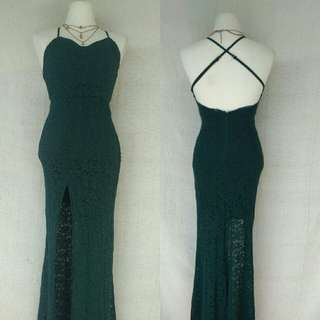 Green Lace Sexy Back Long Gown with Slit