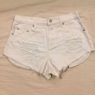 Forever 21 Distressed High Waist Shorts W/ Flower Detail