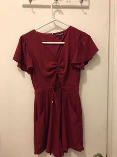 Express Ruby Red Cut Out Romper
