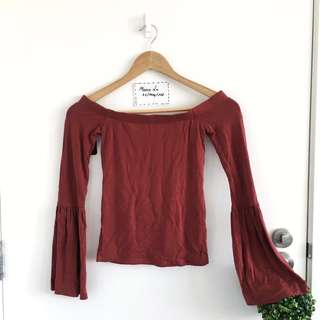 Maroon Red off shoulder top size 6 (xxs,fits ~size 6-8)