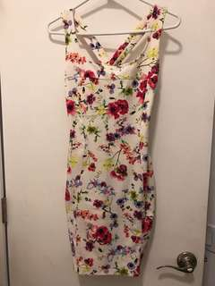 Pull and Bear White Floral Dress