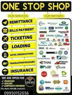 Bayad Center, Airline ticketing, Cebuana, Western Union etc. Franchise