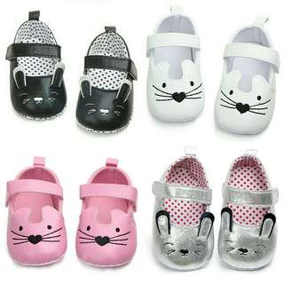 🍀Baby Girl PU Cat Soft Sole Non Slip Shoes🍀