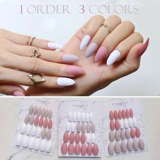 Brick red Stiletto Matte False nails DIY Multicolor  White Nude color fake nail 3 colors Fashion Full Nail Tips Finished product