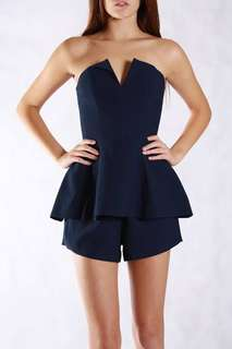 Finders keepers navy playsuit