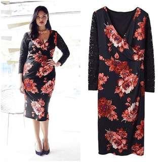 Lace Sleeve Floral Plus Size Dress