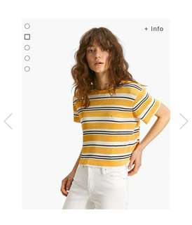 Striped Pleated T-shirt