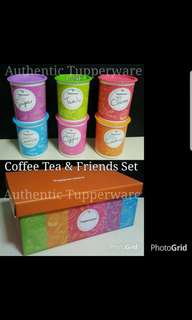 Authentic Tupperware  Coffee Tea & Friends Set One Touch Canister Junior 1.25L (6) 13.0cm (D) × 15.5cm (H)  Retail Price S$99.00 Now S$75.00 /set ot