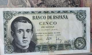 1951 spanish bank note 钞票西班牙
