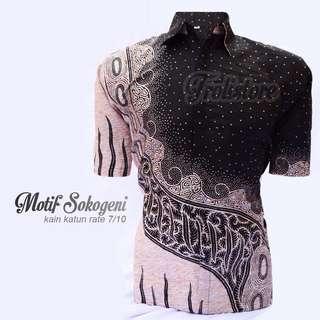 Kemeja Batik Pria Hitam Lengan Pendek Motif Sokogeni