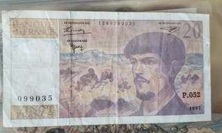French bank note used 钞票法国