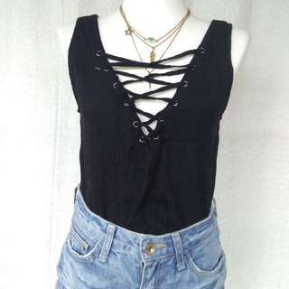Forever21 Lace-up Top