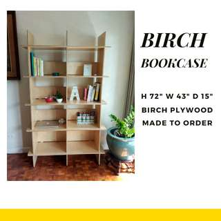 Wooden Bookcase, Birch Bookcase, Bookshelf, Wooden Shelves