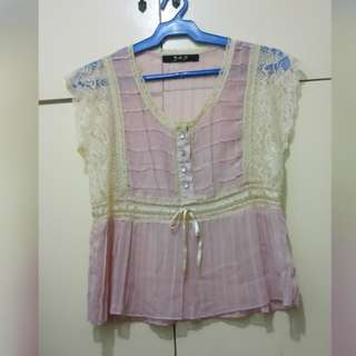 WA703 Peach & Pink Vintage Inspired Lacey Sheer Blouse (see pics for Measurements)