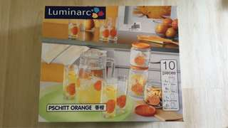 BNIB LUMINARC 10 Piece Glass Set (Orange color)