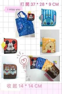 🚚 迪士尼 米奇 史迪奇 小熊維尼 奇奇蒂蒂可收納購物袋 收納袋 置物袋 外出袋 環保袋