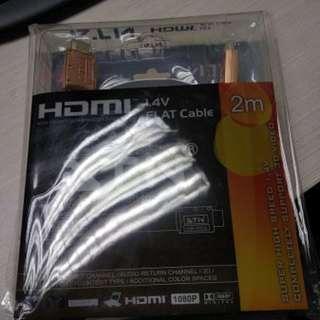全新未開封ATN HDMI 1.4V FLAT Cable (100%全新) 3D/4K 支援 2M長