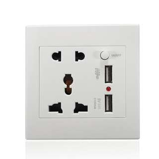 Universal Dual 2 USB Plug Switch Power Supply Plate Wall Socket 2100mA Charger
