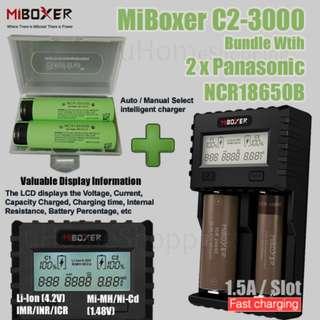 MiBoxer C2-3000 1.5A Per Slot Fast Smart Charger With UK Plug Combo Set With 2 x Panasonic NCR18650B Flat Top 3400mAh 18650 Batteries
