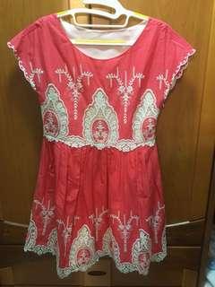 🚚 Cynthia Rowley 紅色圖騰洋裝