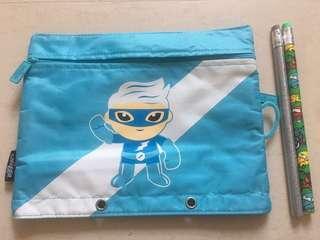 Smiggle Super Flash Boy's Blue Pencil Case with 2 Jumbo Pencils